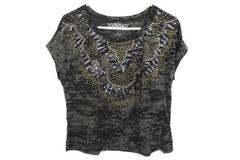Maurices Premium Cuffed Sleeve Top Burnout Embellished Studded Women's Plus Sz 1