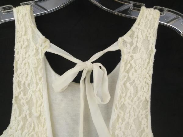 KIMCHI BLUE Urban Outfitter Backless Dress Fit & Flair Skater Ivory Lace Size XS