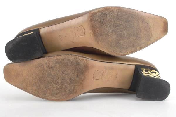 JOEL PARKER Womens Gold Italy Leather Metallic Pumps Heels Size 9 AAA Narrow