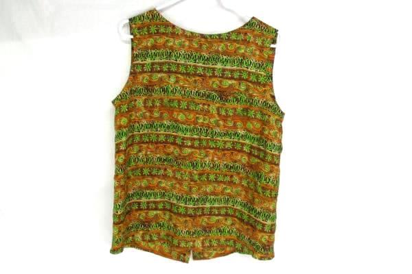 Diane Gilman Top Cami Shell Sleeveless Button Back Boho 100% Silk Sequins Size M