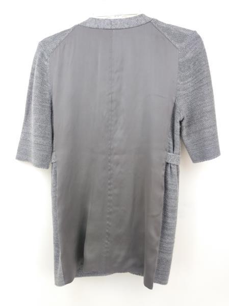CLASSIQUES ENTIER Cardigan Silk & Linen Blend 3/4 Sleeve Gray V Neck Sz XS