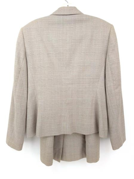 LE SUIT ESSENTIALS Tan Plaid 2pc Set Career Skirt + Blazer Suit Women's Sz 10