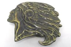 Vintage Brass Belt Buckle Indian Chief with Native Headdress Feathers