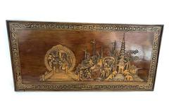 "Vintage Wall Hanging Picture Wood Carved Monks Temple 39.5"" x 19"""