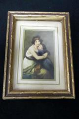 "Vintage ""The Artist and Her Daughter"" Small Framed Color Print Le Brun MME"