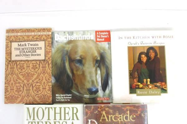 Lot of 5 Various Books Mother Teresa Dictionary of Word Origins Mark Twain