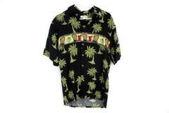 Pierre Cardin Men's Hawaiian Shirt Palm Trees Print Short Sleeve Button Up Sz S
