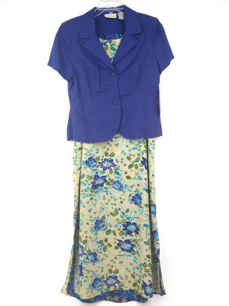 Vtg 90's STUDIO EASE Reversible Dress & Jacket Set Blue/Tan Floral 10 Petite NWT