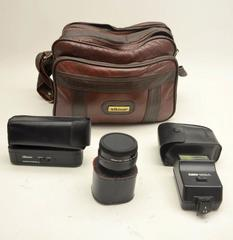 Vintage Film Camera Accessories w/ Albinar Brown Case Bag and Booklets
