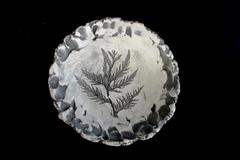 "Handmade Decorative Clay Pottery Bowl 10.25""  Fur Tree Design Grey & White Legs"