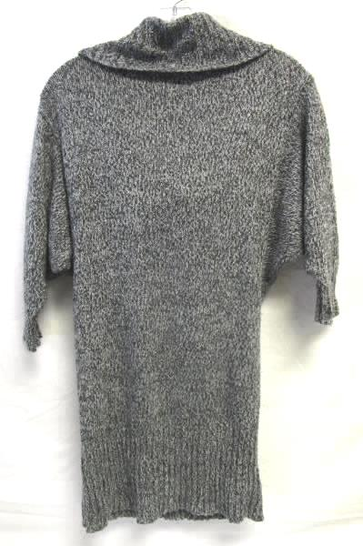 Woman's Grey Tunic Length Pullover Cowl Neck Sweater Dress By B-Wear Size M