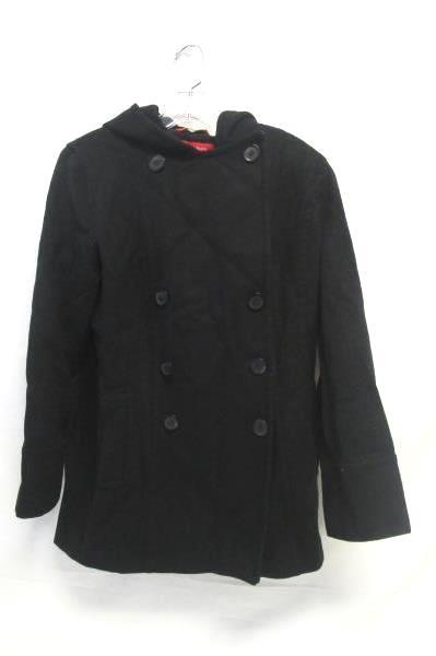 Women's Anne Klein Trench Style Hood Peacoat Black Waist Double Breasted Sz S