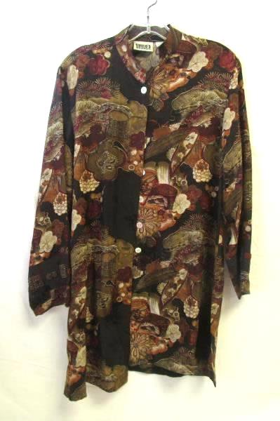 Women's Long Sleeved Button Up Floral Tunic By Chico's Size 0 100% Silk