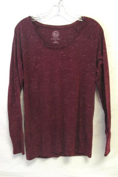 Long Sleeve Perfect Pullover Shirt By SO Burgundy Speckled Pattern Women's Sz M