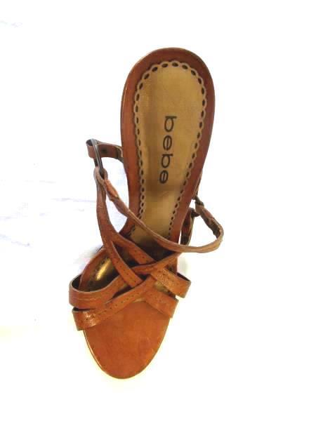 Strapped Pumps By Bebe Brown Faux Leather Women's Size 6