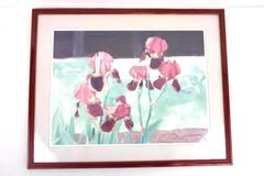 Framed Matted Watercolor Painting Iris Flowers Signed Dated 87' Casey