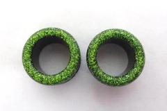 "Pair Of Black & Green Glitter Screw Back Tunnel Plug Ear Lobe Gauges 5/8"",16mm"