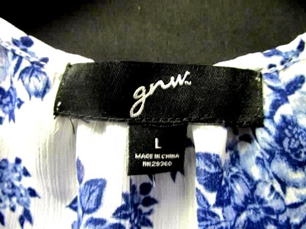 Women's Blue And White Sheer Floral Top By Great Northwest Size L