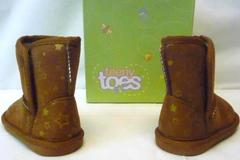 Teeny Toes Toddler Girls Emma Cozy Brown Gold Star Boots Size 4