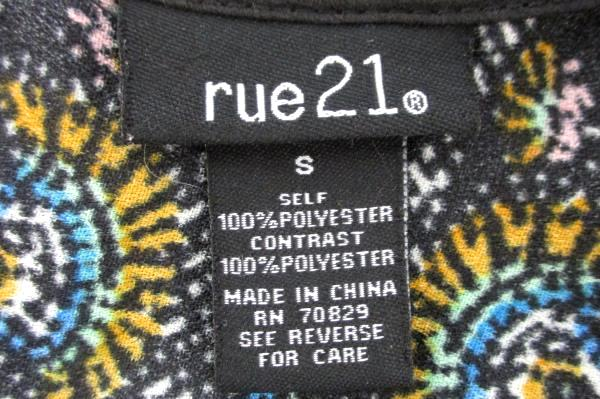 Rue 21 Multi Color Printed Dress Zipper Back Junior Size Small Made In China