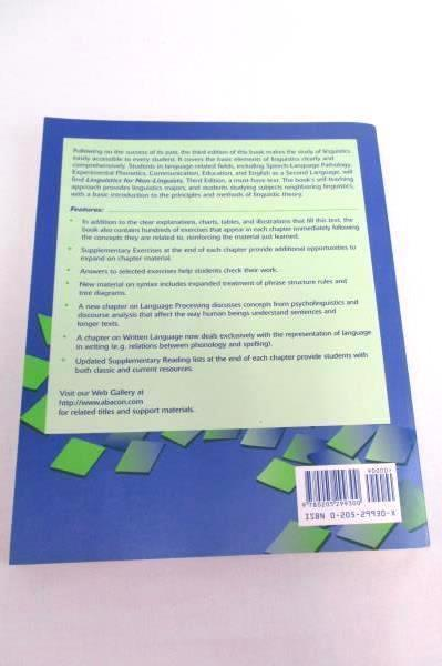 Linguistics for Non-Linguists A Primer with Exercises Textbook 3rd Edit Parker