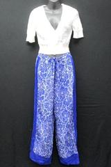 Women's Clothe Lot: Blue Floral Pants and So White Open Knit Half Cardigan Sz L