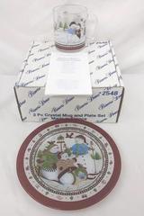 2 Piece Set Princess House Crystal Cocoa & Cookies For Santa Snowman #2548