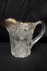 EAPG Clear Glass Creamer or Small Pitcher Sunburst Scalloped Top Gold Trim