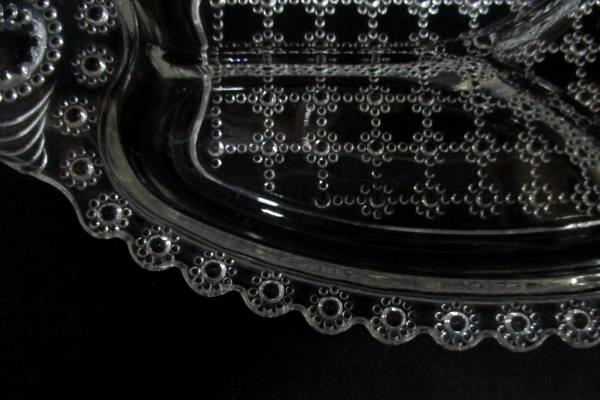 Vintage Glass Divided Relish Pickle Dish Flower And Beaded Square Pattern