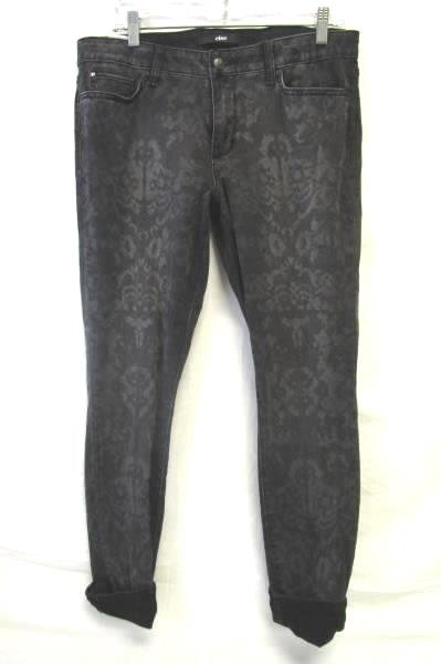 Women's Black And Gray Designed Skinny Jeans By Else Size W30 98% Cotton