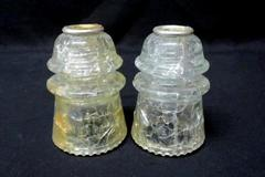 Lot of 2 Vintage Crackled Clear Glass Insulator Hemingray #16 Made in USA 24 28