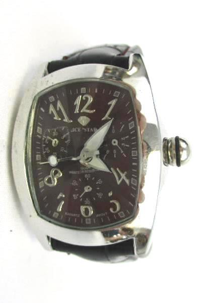 Women's Wrist Watch Ice Star 1829L Black Genuine Leather Red Maroon Face