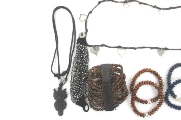 Large Costume Jewelry Lot Necklace Bracelet Earrings Earth Tones Owl Heart