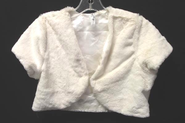 Women's White Furry Shrug By Knit Works Size 14 100% Polyester