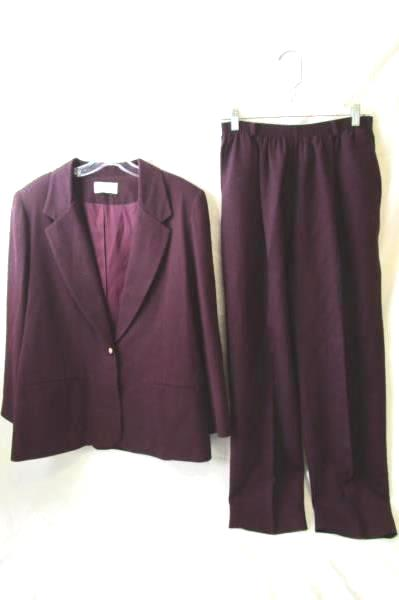 Women's Deep-Purple Pants and Dress Jacket Combo By Alfred Dunner Size P16 & P14