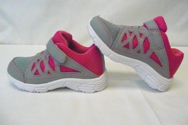 Zoe & Zac Pierice II Grey & Pink Easy Fasten Sneaker Girls Shoe Size 8