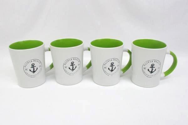 Lot Of Four White And Green Ceramic Coffee Mugs Olivia Beach Lincoln City OR.