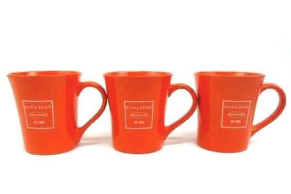 Lot Of Six Ceramic Coffee Mugs Olivia Beach Lincoln City OR. 3 Orange, 3 Brown