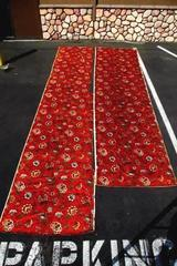 Vtg Quaker Fabric Corp. 1970's Upholstery Fabric Floral Burnt Orange 35'