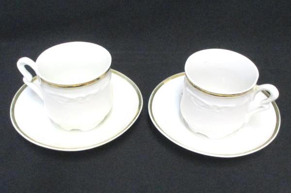 Set 2 Demitasse Cup And Saucers Scroll Work Detail Gold Gilt