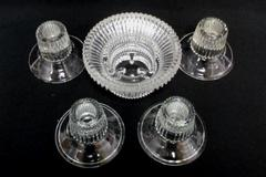 Lot of 5 Small Candle Holders Clear Glass Sawtooth Rim Edge Upcycle