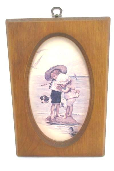 Vintage Scafa Tornabene Art Lithograph Boy & Girl At The Beach With Dog Framed