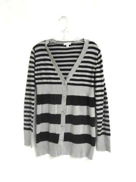 "Cardigan Liz Lange ""Maternity"" Black & Grey Horizontal Striped Women's Size XS"