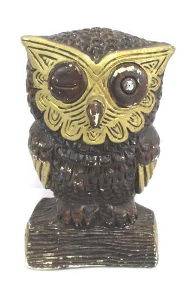 """Vintage Owl Figurine Plaster Hand Painted Brown Gold 8.5"""" Tall"""