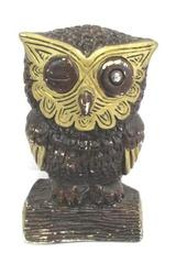 "Vintage Owl Figurine Plaster Hand Painted Brown Gold 8.5"" Tall"