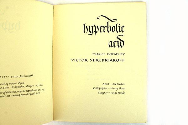 Hyperbolic Acid By Victor Serebriakoff