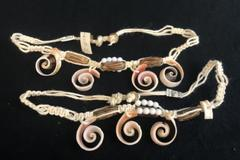 Set of 2 Chokers Macrame Spiral Wave Pink Shell White Beads From Philippines