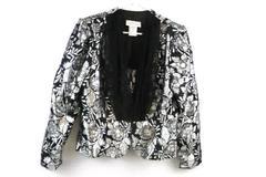 Scott McClintock Women's Black and Silver Floral Jacket Size 12