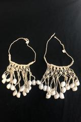 Set of 2 Macrame White Shell Sound Making Bracelets Anklets Made In Philippines