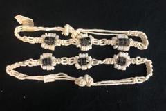 2 Macrame Wht Shell Flower Hemp Twine Beaded Bracelets Anklets From Philippines